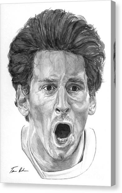 Lionel Messi Canvas Print - Intensity Lionel Messi by Tamir Barkan