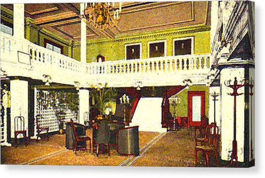 Interior Of The Acacia Club In Williamsport Pa In 1910. Canvas Print by Dwight Goss
