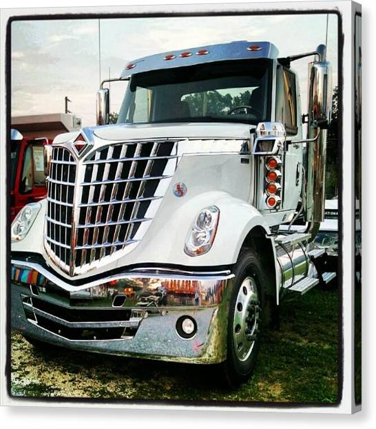 Grills Canvas Print - #international #semitruck #white #shiny by Tracy Hager