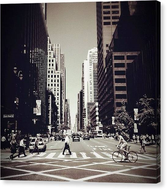 Bicycle Canvas Print - Intersection - New York City by Vivienne Gucwa