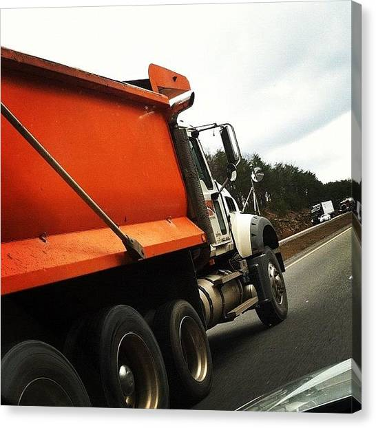Interstates Canvas Print - #interstate #dumptruck #orange #driving by S Smithee