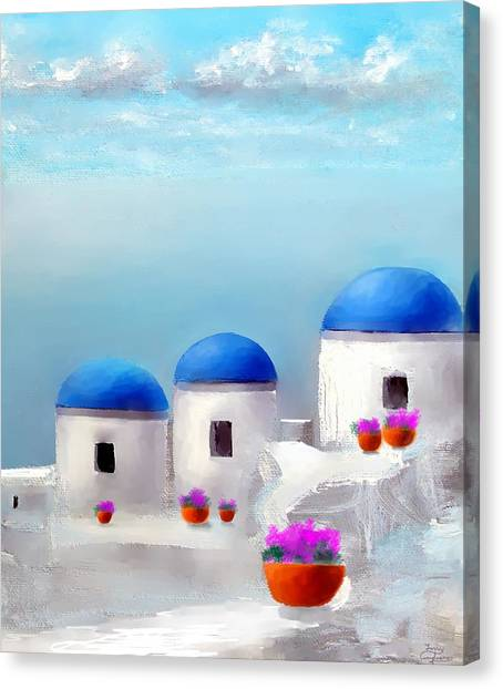 Into The Heavens Santorini Canvas Print
