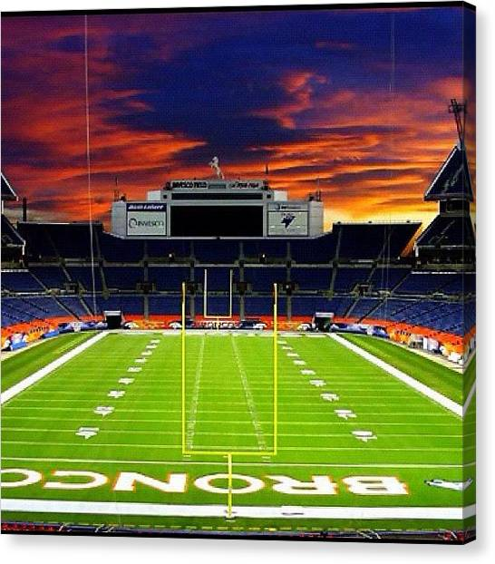 Stadiums Canvas Print - Invesco Field At Mile High-denver by Nish K.