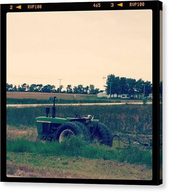Tractors Canvas Print - #iphonephotos #greentractor #green by Jackie Ayala