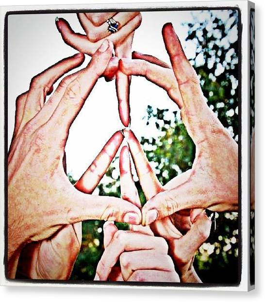 Fingers Canvas Print - #iphonesia #iphoneography #peace #hands by Sherri Galvan