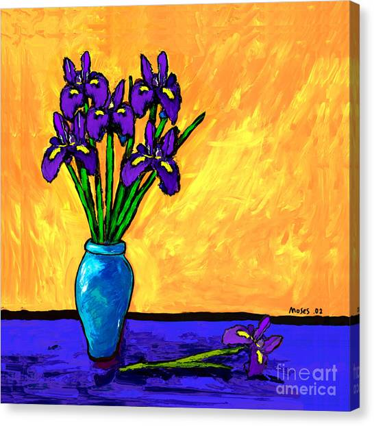 Iris On Yellow Canvas Print