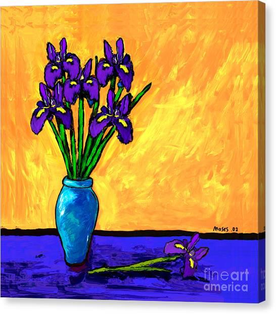 Iris On Yellow Canvas Print