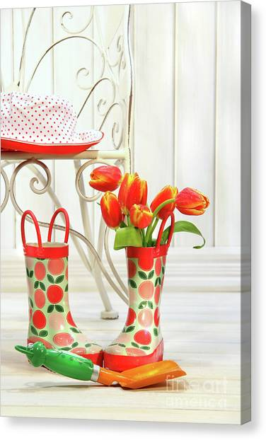 Garden Canvas Print - Iron Chair With Little Rain Boots And Tulips  by Sandra Cunningham