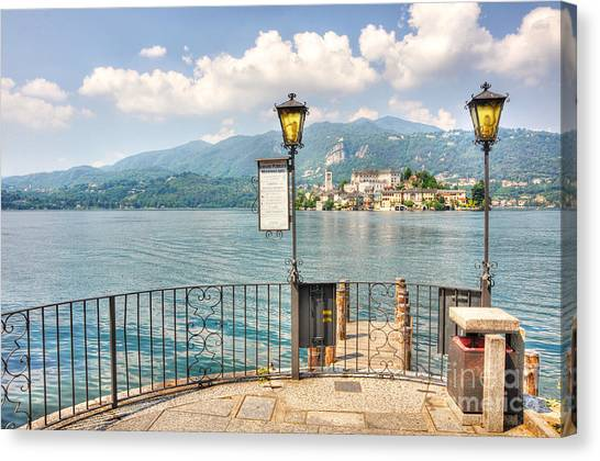 Island San Giulio On Lake Orta Canvas Print