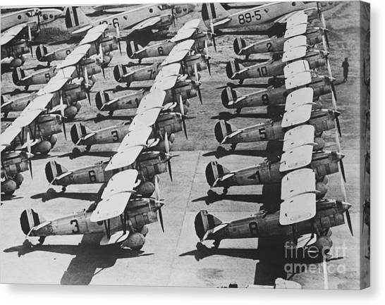 Prop Planes Canvas Print - Italian Fighter Planes by Photo Researchers