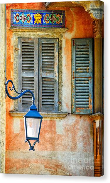 Italian Street Lamp With Window And Decorated Wall Canvas Print
