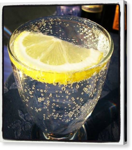 Tables Canvas Print - #italy #venice #lemon #bubbles #water by Tatyana Radygina