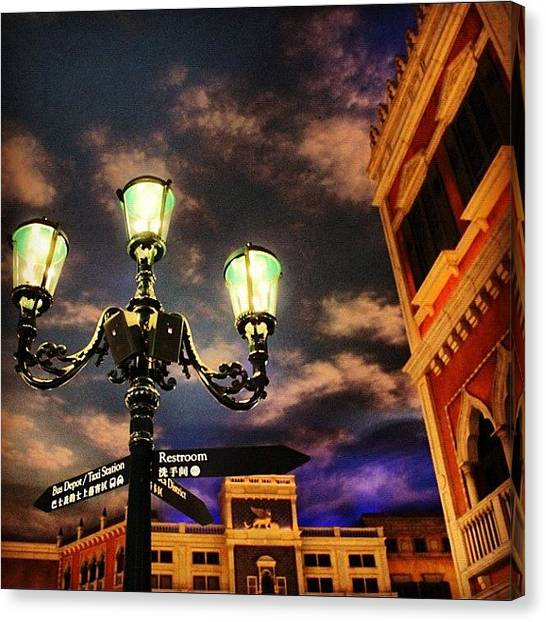 Om Canvas Print - It's Night! #night #lamp #clouds by Om Bhatia