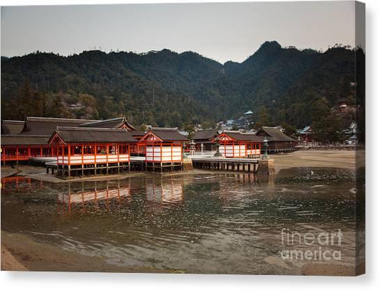 Itsukushima Shrine On Miyajima Island Canvas Print by Ei Katsumata