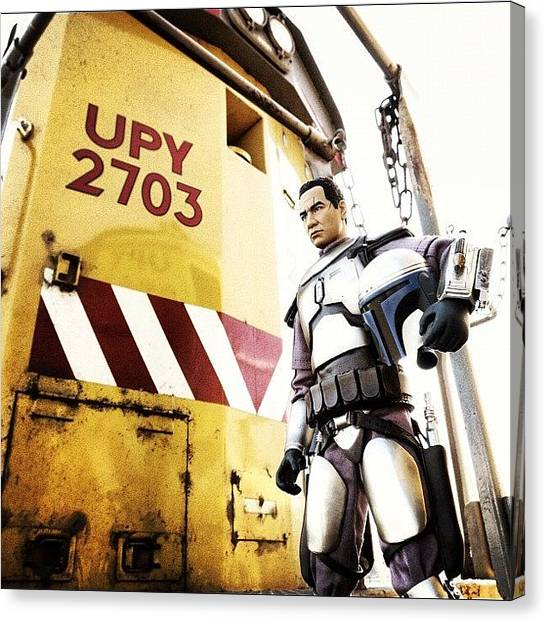 Stormtrooper Canvas Print - Jango On A Train #toy #toyspace by Timmy Yang