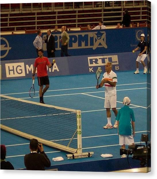 Tennis Canvas Print - Janko Tipsarevic és Mansour Bahrami by Tibor Kiraly