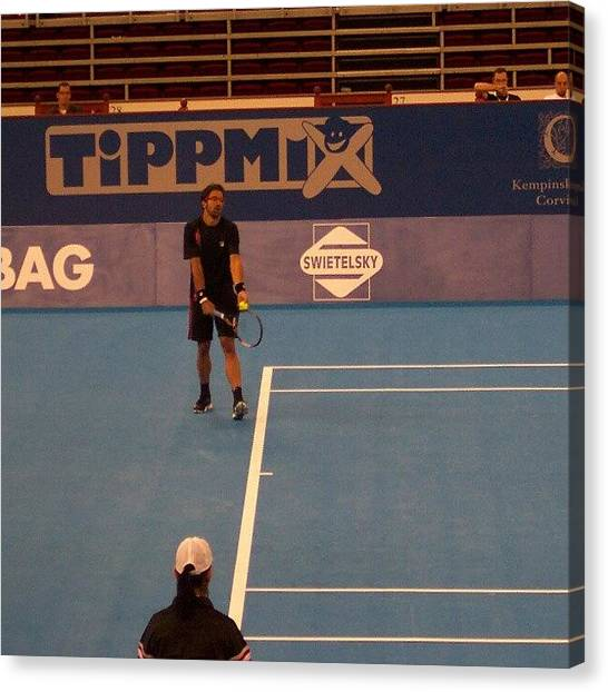 Tennis Canvas Print - Janko Tipsarevic by Tibor Kiraly