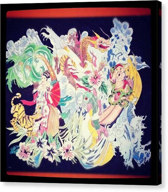 Dragons Canvas Print - Japanese Love by Kristina Parker