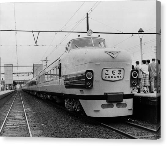 Bullet Trains Canvas Print - Japanese National Railways Ultra-modern by Everett