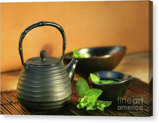 Sweet Tea Canvas Print - Japanese Teapot And Cup  by Sandra Cunningham