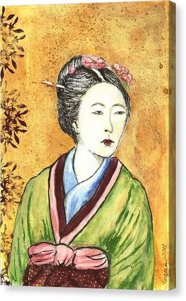 Japanese Woman Canvas Print by Pegeen  Shean