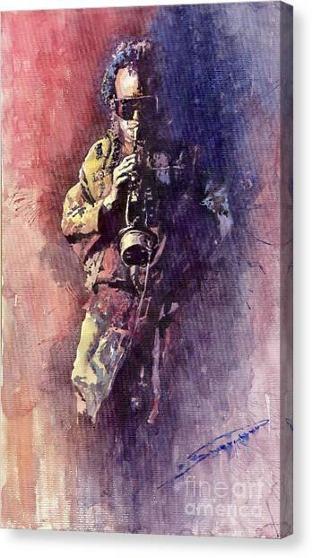Miles Davis Canvas Print - Jazz Miles Davis Maditation by Yuriy Shevchuk