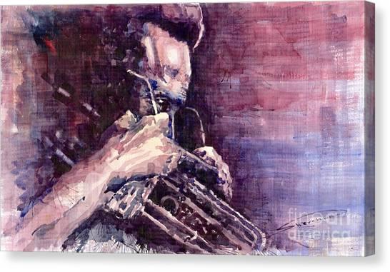 Miles Davis Canvas Print - Jazz Miles Davis Meditation  by Yuriy Shevchuk