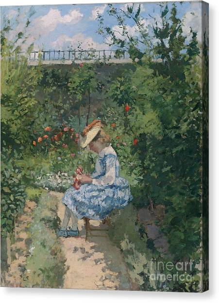 Border Wall Canvas Print - Jeanne In The Garden by Camille Pissarro