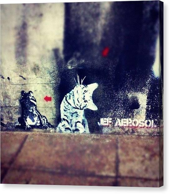 Frogs Canvas Print - #jefaerosol #spraypaint #stencil #ighub by Neil Ormsby