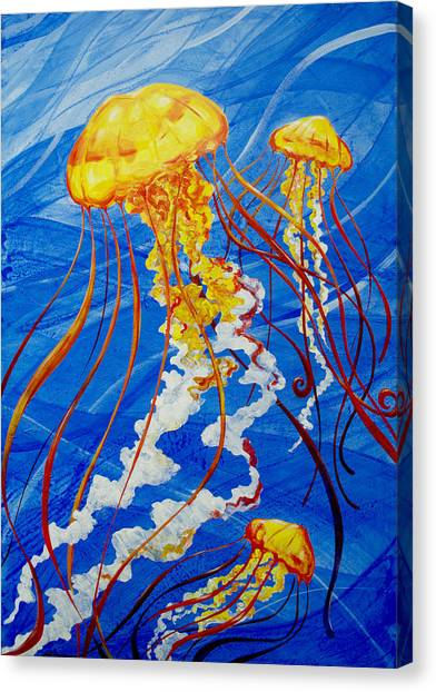 Canvas Print featuring the painting Jellyfish by John Gibbs