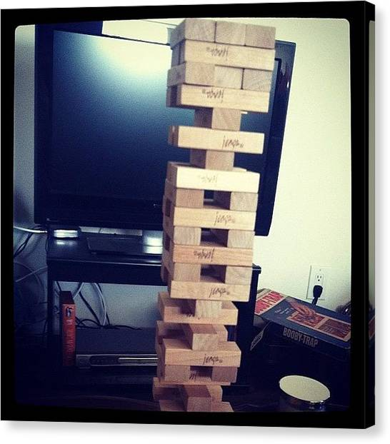 Ashes Canvas Print - Jenga Competition by Ash Eliot