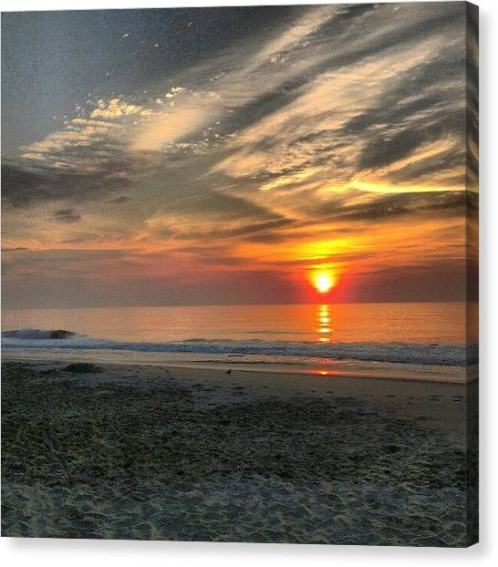Beach Sunrises Canvas Print - Jersey Sunrise. #sunrise #beach #ocean by Brian Harris