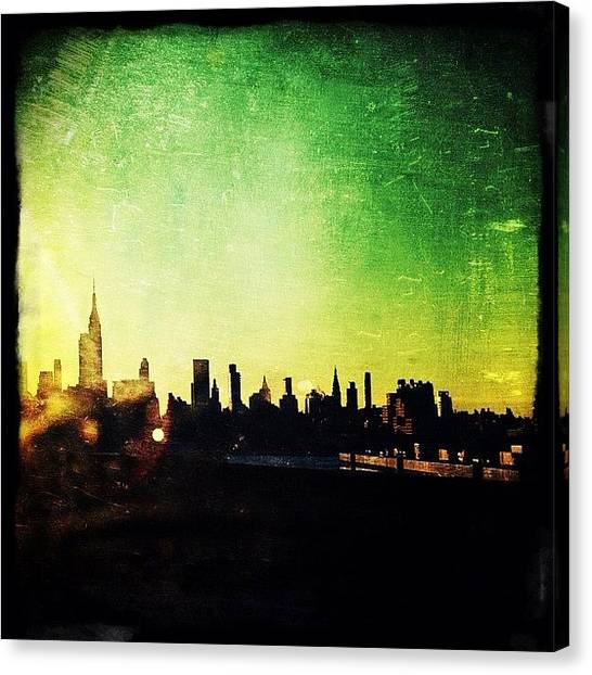 Skylines Canvas Print - Jersey View Of Manhattan by Natasha Marco