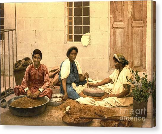 Jerusalem Women Grinding Corn 1895 Canvas Print by Padre Art