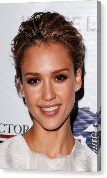 Jessica Alba Canvas Print - Jessica Alba At Arrivals For African by Everett