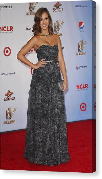 Jessica Alba Canvas Print - Jessica Alba Wearing A Dress By Michael by Everett