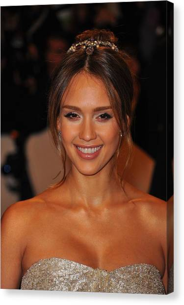 Jessica Alba Canvas Print - Jessica Alba Wearing A Ralph Lauren by Everett