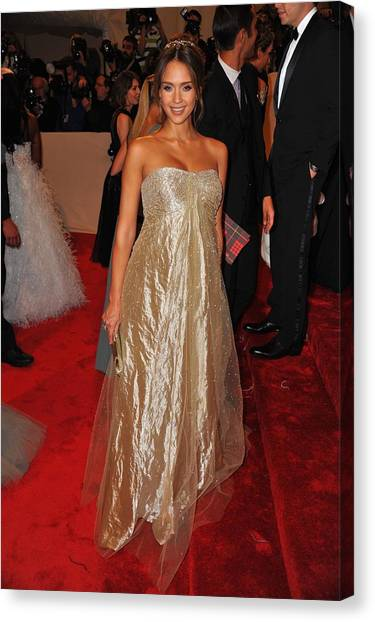 Jessica Alba Canvas Print - Jessica Alba Wearing Ralph Lauren by Everett