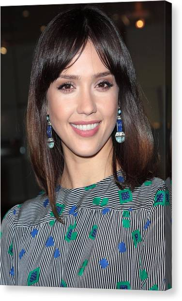 Jessica Alba Canvas Print - Jessica Alba Wearing Vintage Earrings by Everett