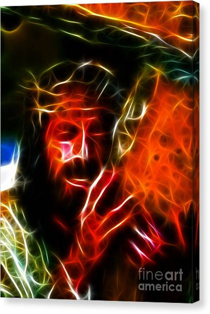Messiah Canvas Print - Jesus Carrying The Cross No2 by Pamela Johnson