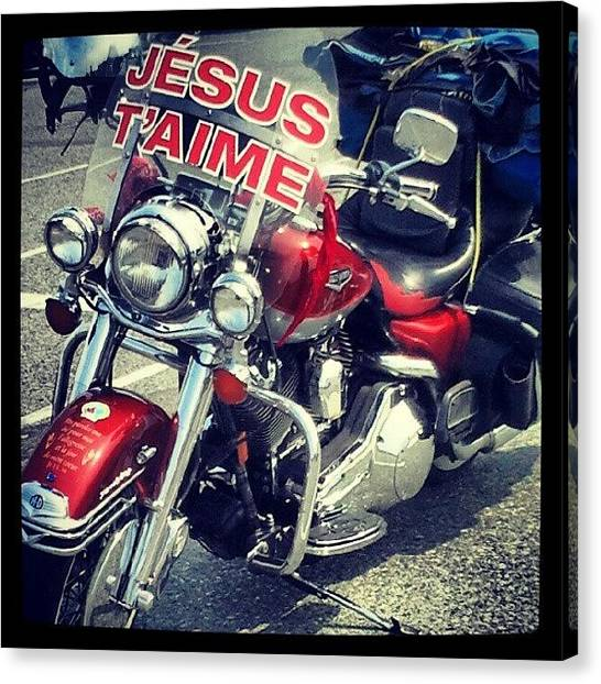 Marines Canvas Print - Jesus Loves Bikers by Marine Duguay-Baril