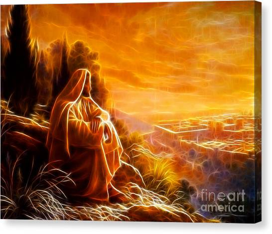 Messiah Canvas Print - Jesus Thinking About People by Pamela Johnson