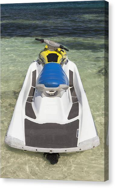 Water Skis Canvas Print - Jet Ski In Shallow Water At The Waters by Bryan Mullennix