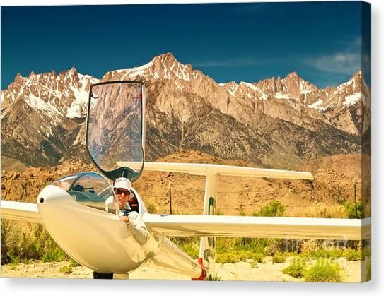 Jim Archer And Kestrel Sailplane Lone Pine California Canvas Print