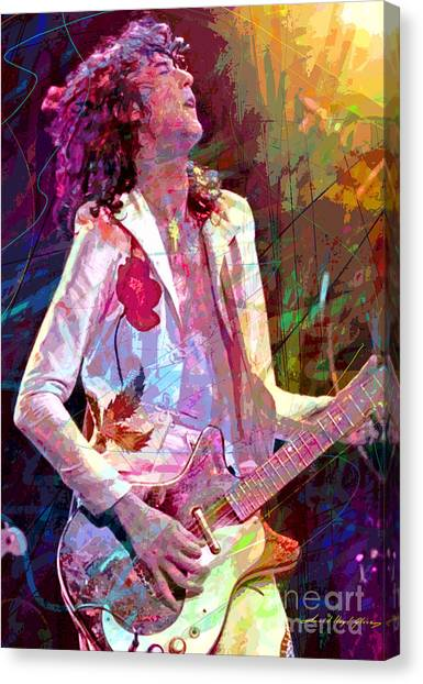 Led Zepplin Canvas Print - Jimmy Page Led Zep by David Lloyd Glover