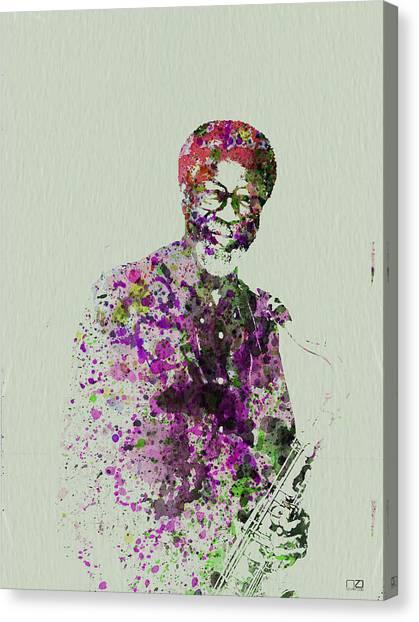 Saxophones Canvas Print - Joe Henderson Watercolor  by Naxart Studio