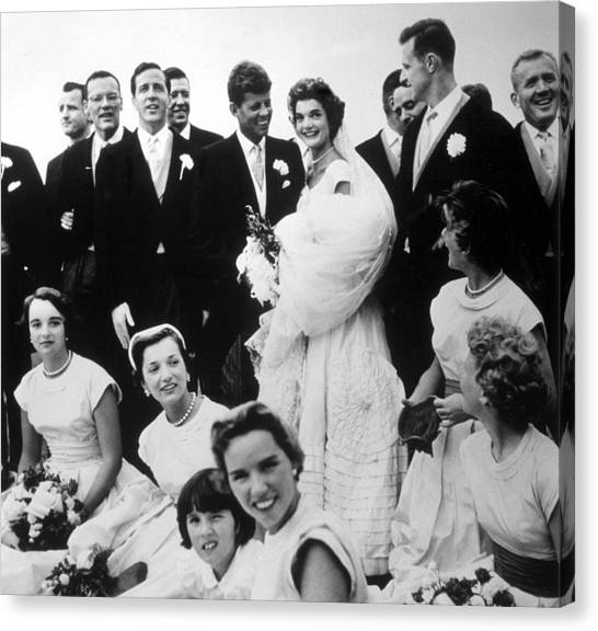 Wedding Gown Canvas Print - John F. Kennedy And Jacqueline Bouvier by Everett