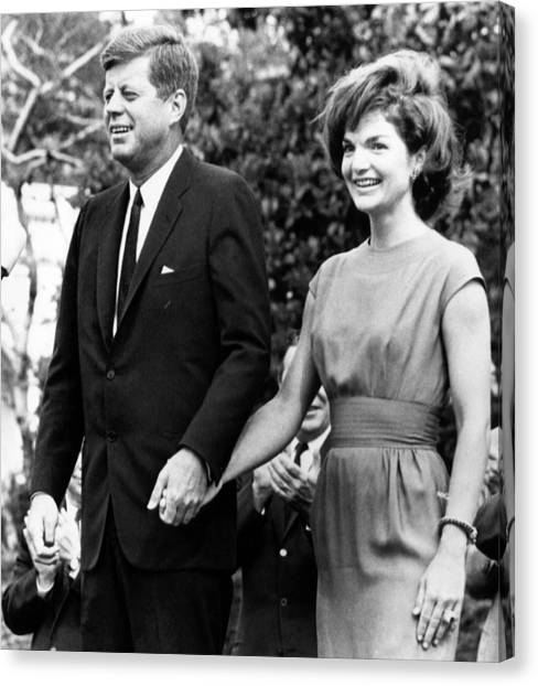 Democratic Politicians Canvas Print - John F. Kennedy And Jacqueline Kennedy by Everett