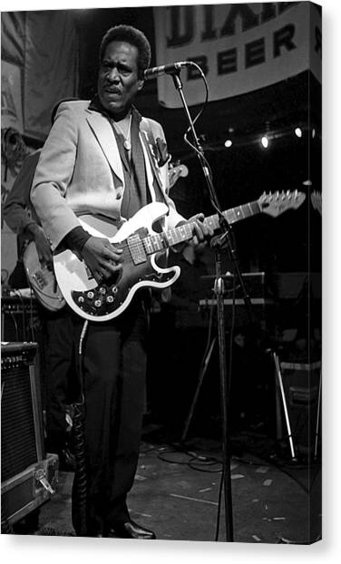 Black white guitar canvas print johnny copeland by obi martinez