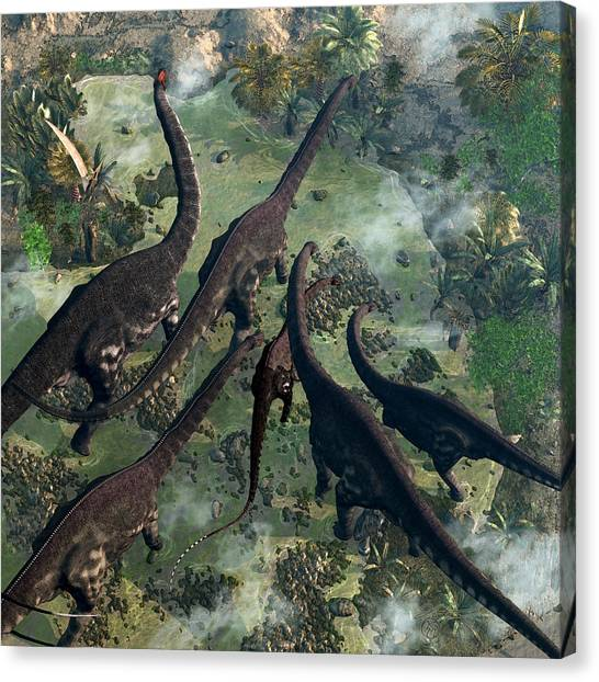 Brontosaurus Canvas Print - Joining The Herd by Kurt Miller